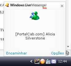 Janela do alerta em ação no MSN Messenger