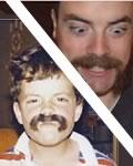 Criança bigoduda antes e depois