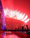 Fogos de artifícios no Ninho dos Pássaros em Pequim