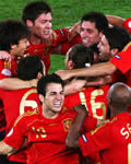 Espanha comemorando o gol na final da Eurocopa 2008