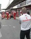 McLaren espionando treino da Ferrari