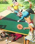Gatos jogando Ping Pong