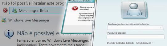 Erros no Windows Live Messenger