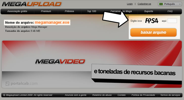 Tela de entrada para download de arquivo no site megaupload