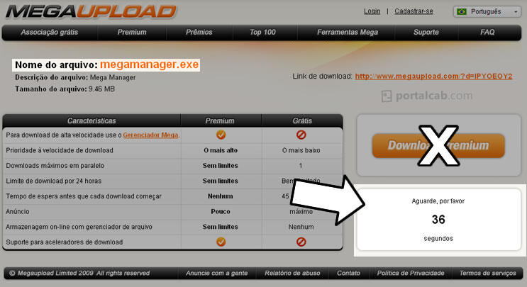 Tela de download de arquivo no site megaupload