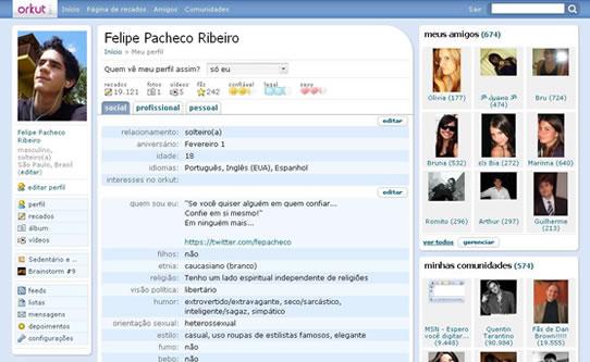 Nova interface do orkut
