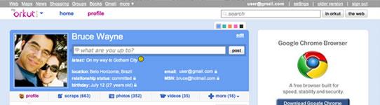 O perfil do Waldivino Baladinha no novo orkut