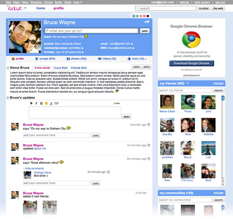 O novo layout do orkut. E aí, gostou?