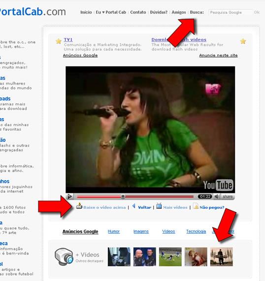 Vídeos no PortalCab