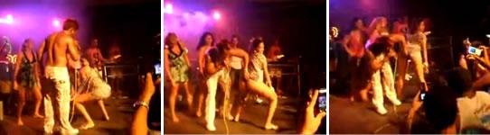 Imagens do vídeo da professora dançando todo enfiado