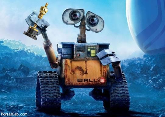 Wall-E segurando sua estatueta do Oscar (montagem feita por Cab)